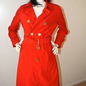 NEW Isaac Mizrahi Red Trench Coat